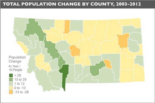 Montana Poulation Change 2003-2015 Map