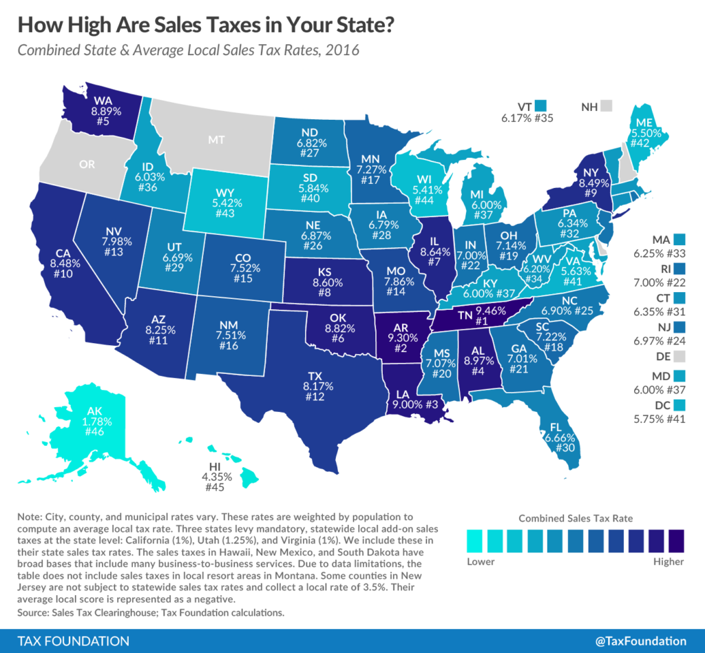 Tax Foundation US Sales Taxes by State